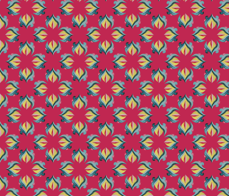 Gold Deco Flower - Raspberry fabric by gail_mcneillie on Spoonflower - custom fabric