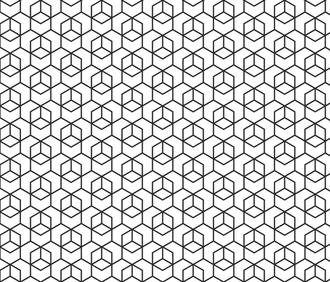 Hexagon trellis - black on white fabric by little_fish on Spoonflower - custom fabric