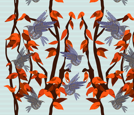 Autumn Birds fabric by inkpudding on Spoonflower - custom fabric