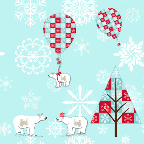 Polar Bear Christmas  fabric by karenharveycox on Spoonflower - custom fabric