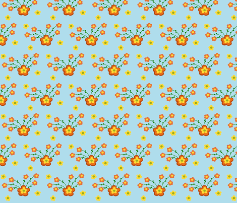 Orange Burst of Flowers fabric by pmegio on Spoonflower - custom fabric