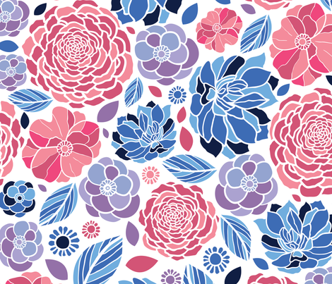 Floral Mosaic fabric by oksancia on Spoonflower - custom fabric