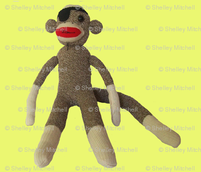 Pirate sock monkey in yellow