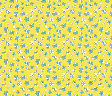 Sunny Flight Polka-Dots  Cute Doodled Daisies fabric by diane555 on Spoonflower - custom fabric