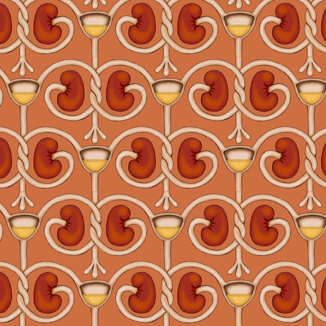 Kidneys and Bladder on Burnt Orange fabric by sufficiency on Spoonflower - custom fabric