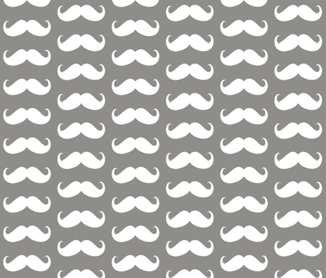 mustache  bigger grey fabric by katarina on Spoonflower - custom fabric