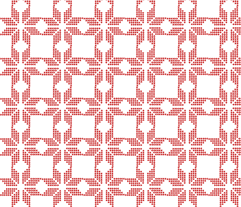 snowflake white red fabric by katarina on Spoonflower - custom fabric