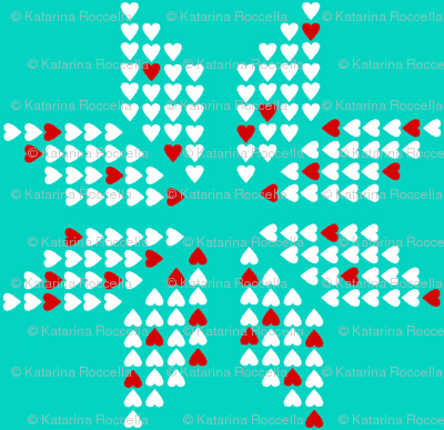 scandinavian snowflake aqua red