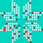scandinavian snowflake aqua red