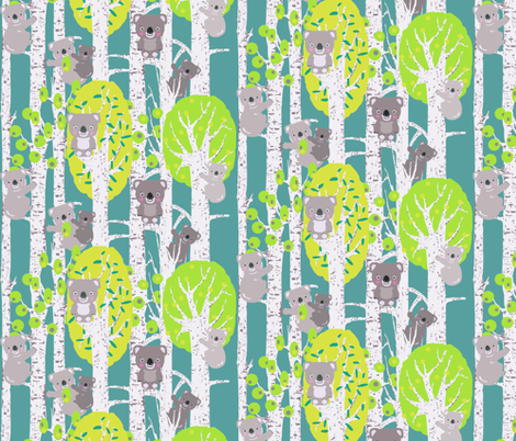 koalas in the trees smaller fabric by katarina on Spoonflower - custom fabric