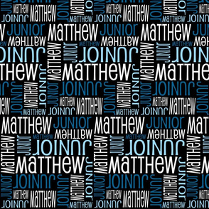 Personalised Name Fabric - Black and Blues