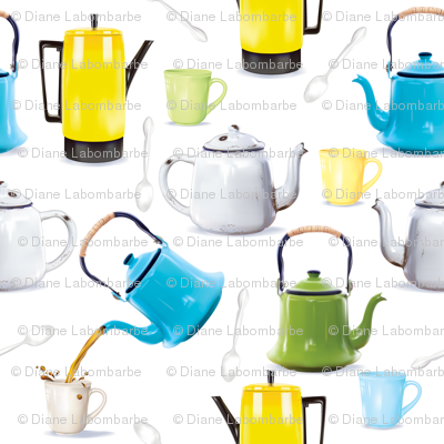 Vintage Tin Kettles and Coffee Pots
