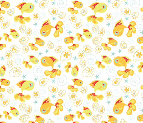 One Fish Two Fish - White fabric by oddlyolive on Spoonflower - custom fabric