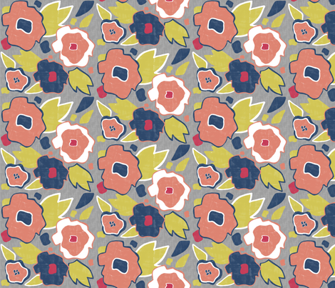 Matisse Bouquet Gray fabric by allisajacobs on Spoonflower - custom fabric
