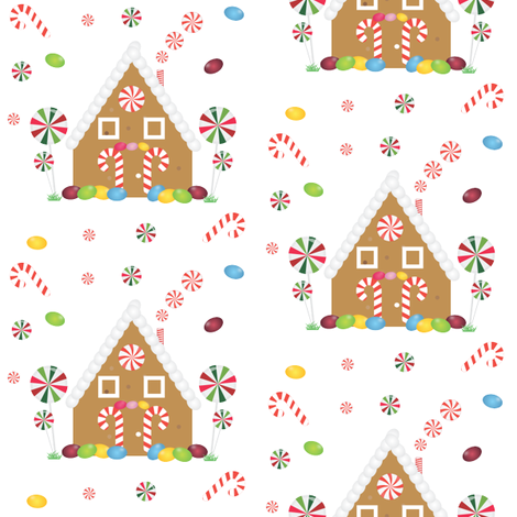 Gingerbread-house-candy fabric by firedropdesign on Spoonflower - custom fabric