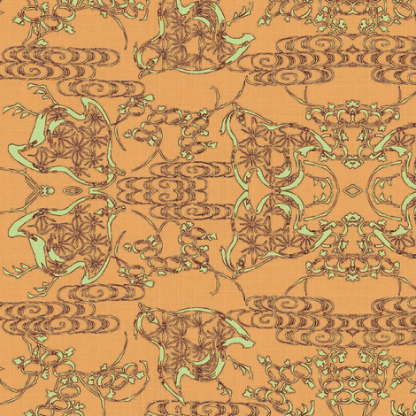 Chicks - melon, pale lime and dark plum fabric by materialsgirl on Spoonflower - custom fabric