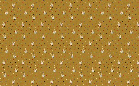 Bunny heads on Mustard fabric by marilynpatrizio on Spoonflower - custom fabric
