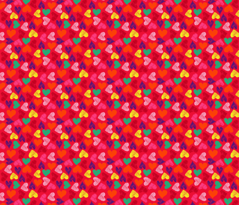 Scribble Heart Red fabric by louisemachado on Spoonflower - custom fabric