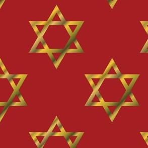 Red Hanukkah Star of David