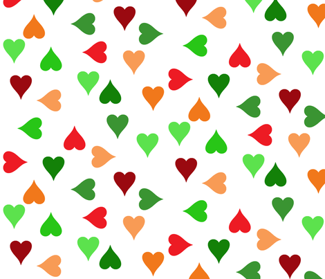 Christmas hearts (large) fabric by greennote on Spoonflower - custom fabric