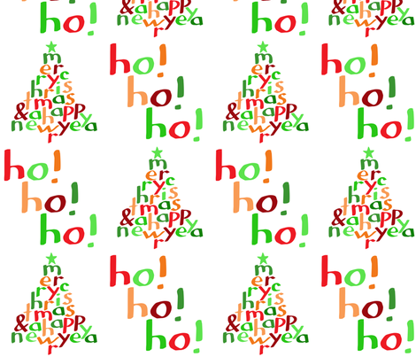 Merry Christmas Ho! Ho! Ho! (large) fabric by greennote on Spoonflower - custom fabric