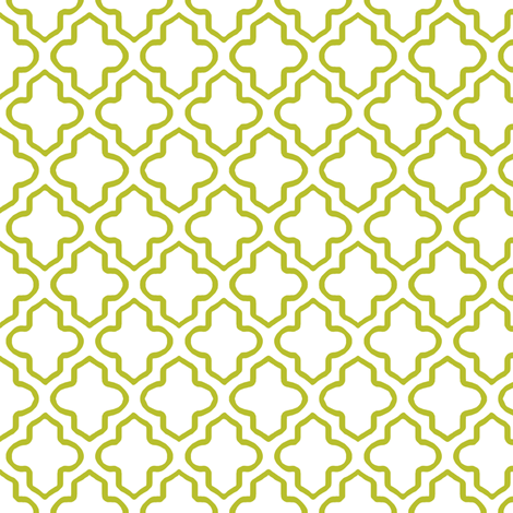 Hollow Moroccan Quatrefoil in Chartreuse fabric by fridabarlow on Spoonflower - custom fabric