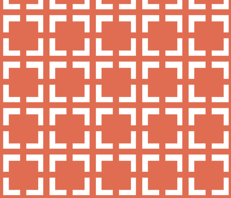 Moroccan Solid Square in Tuscan or Coral / Salmon fabric by fridabarlow on Spoonflower - custom fabric