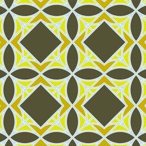 Diamonds and Flowers Green Tones