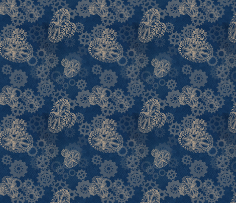 Gear Blue fabric by trollop on Spoonflower - custom fabric