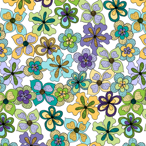 Funky Fantasy Flowers - Cool Spring on White (Standard) fabric by rhondadesigns on Spoonflower - custom fabric