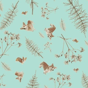 corgi and botanicals print - ice blue