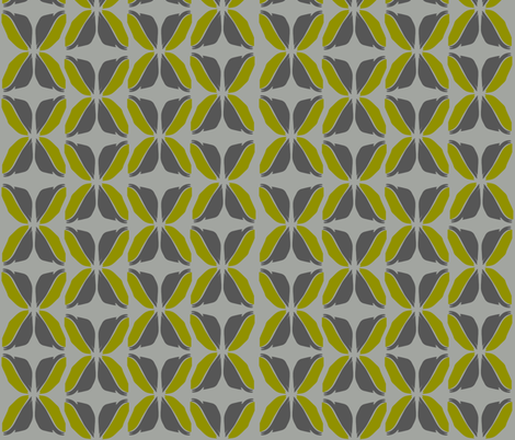 FeatherLeavesGrayCitron fabric by roxanne_lasky on Spoonflower - custom fabric