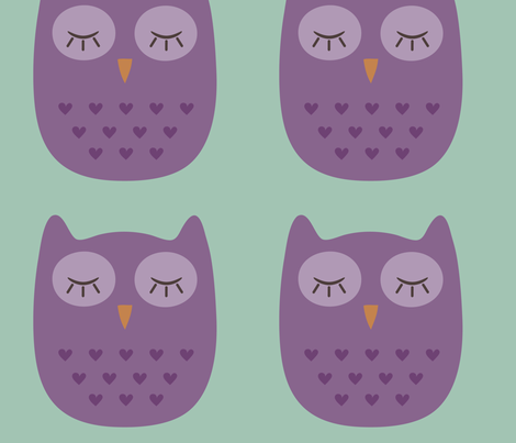 Sofie owl sleeping fabric by studioformo on Spoonflower - custom fabric