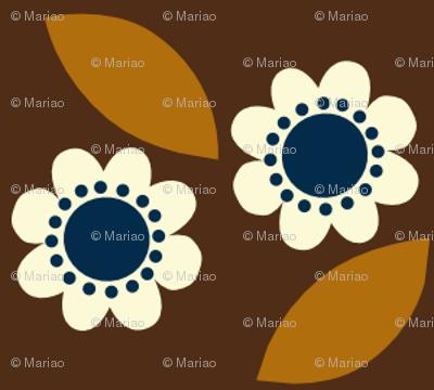 little retro flower brown