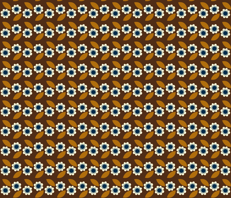 little retro flower brown fabric by mariao on Spoonflower - custom fabric