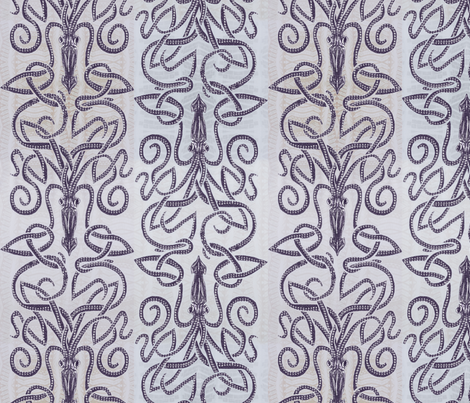 Kraken Squid - Ink Purple  fabric by wren_leyland on Spoonflower - custom fabric