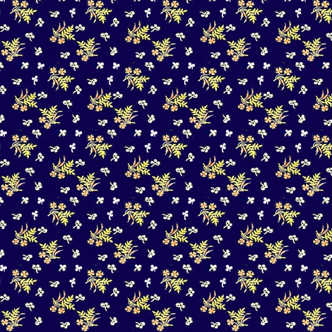 Indigo with Flowers, solid background