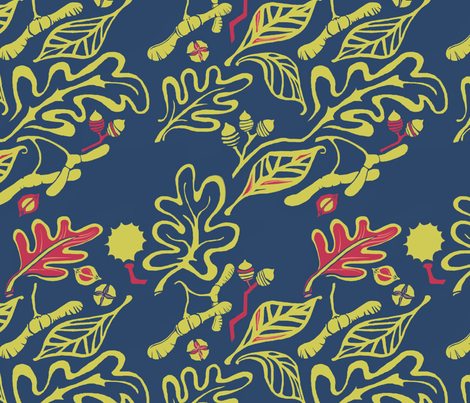 Matisse-like Nuts and Leaves fabric by wren_leyland on Spoonflower - custom fabric
