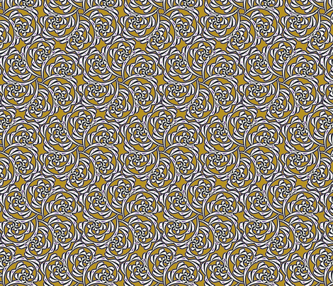 Fiddlehead Swirl  -mustard fabric by fireflower on Spoonflower - custom fabric