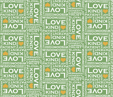 LOVE is Everything in Spring Green fabric by fridabarlow on Spoonflower - custom fabric