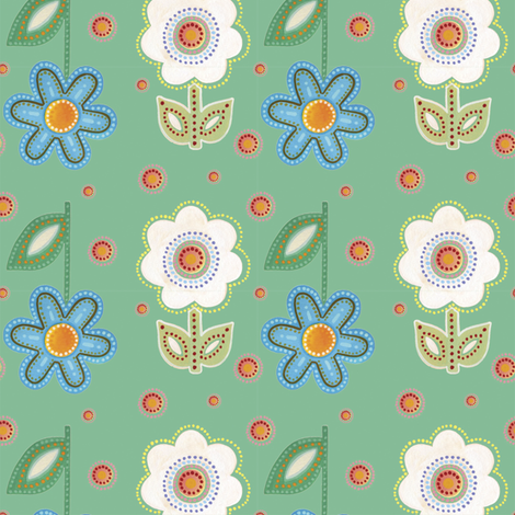 Fiesta, Emerald Green | alexcolombo.com fabric by studio•alex on Spoonflower - custom fabric
