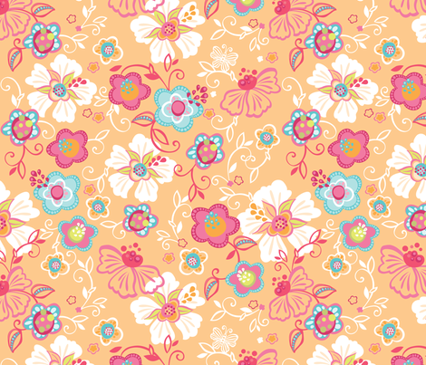 Delia Orange fabric by meganhagelcreative on Spoonflower - custom fabric