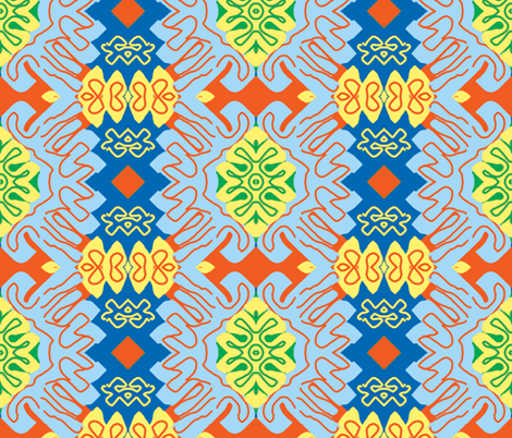Surfin' Menton in the Summer - Matisse-like Medallions fabric by susaninparis on Spoonflower - custom fabric