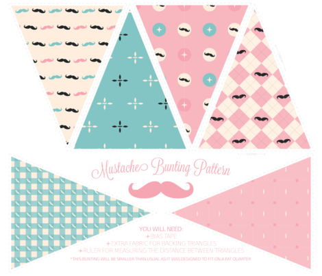 Mustachio Bunting Pattern fabric by bobbifox on Spoonflower - custom fabric