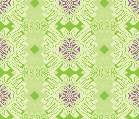 Damask Effect in Greens - Matisse-like Medallions fabric by susaninparis on Spoonflower - custom fabric
