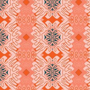 Damask Effect in Oranges - Matisse-like Medallions