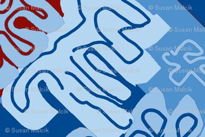 Damask Effect in Blues - Matisse-like Medallions