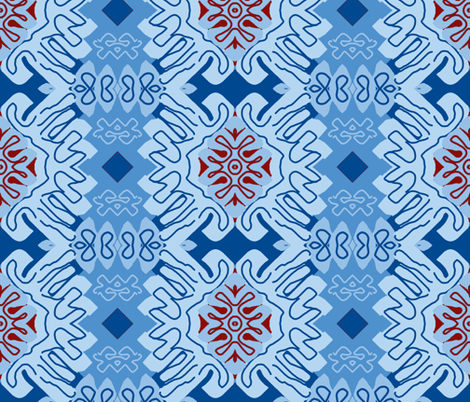 Damask Effect in Blues - Matisse-like Medallions fabric by susaninparis on Spoonflower - custom fabric