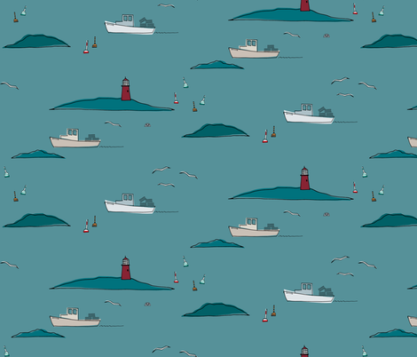 Lobstering, Teal Blue fabric by spugnardidesign on Spoonflower - custom fabric