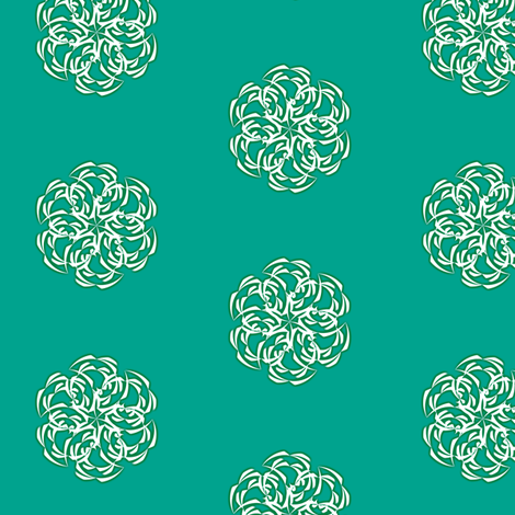 Fiddlehead Stars on teal fabric by fireflower on Spoonflower - custom fabric
